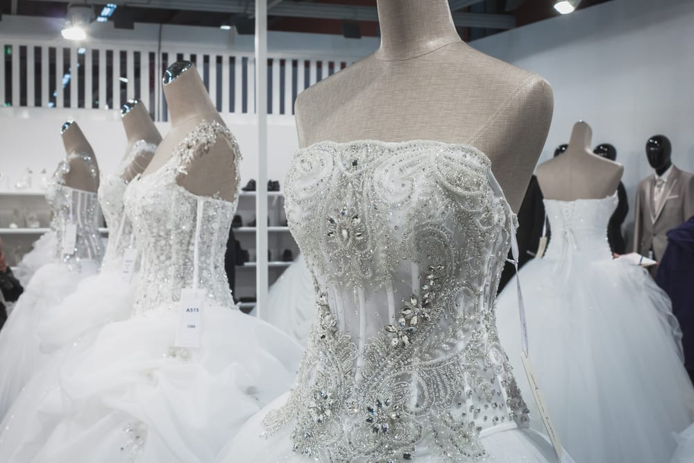 MILAN, ITALY - MAY 23: Wedding dresses on display at Si' Sposaitalia, ultimate exhibition for bridal and formal wear industry on MAY 23, 2014 in Milan.
